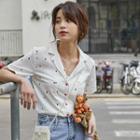 Short-sleeve Patterned Chiffon Shirt
