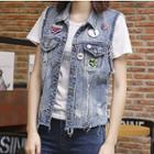 Distressed Denim Vest With Brooch