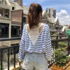 Long-sleeve T Shirt Wide Open-back Striped Panel Top