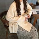 Side Tie Sweater / Printed Midi Skirt