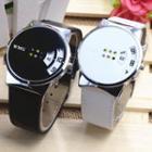 Faux Leather Handless Bracelet Watch