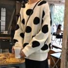 Polka Dot Sweater White - One Size