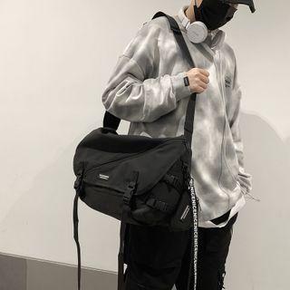 Buckled Lettering Messenger Bag