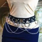 Hoop & Chain Layered Faux Leather Belt