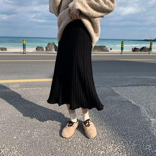 Ribbed Midi A-line Knit Skirt Black - One Size