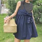 Sleeveless Striped Panel Bow Accent Dress