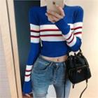 Color-block Cropped Knit Top Blue - One Size