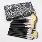 Set Of 18: Makeup Brush Leopard - White - One Size