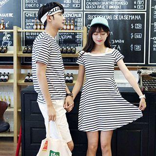 Couple Matching Striped Short Sleeve T-shirt / Short Sleeve Dress