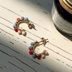 Bead Open Hoop Earrings Multicolor - One Size