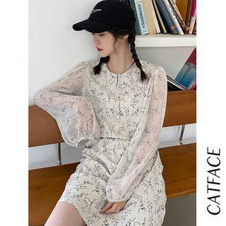 Long-sleeve Floral Print Blouse / Mini Skirt