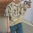 Banana Print Elbow Sleeve Shirt