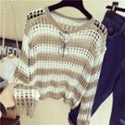 Open Knit Striped Sweater