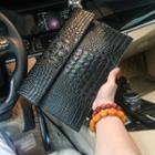 Croc Print Clutch Black - One Size
