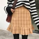Ruffle Check A-line Skirt