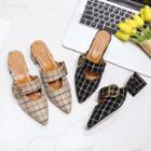 Plaid Buckled Pointed Slide Flats