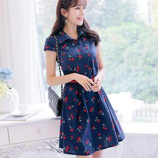 Cherry Print Short Sleeve A-line Dress