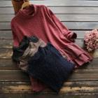 Mock Turtleneck Floral Long-sleeve Top
