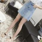 Frayed Scallop-hem Denim Miniskirt