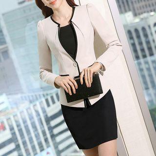 Set: Contrast Trim Blazer + Short-sleeve Sheath Dress