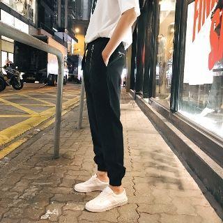 Gather-cuff Side-zip Sweatpants