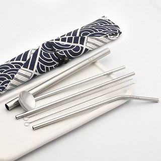 Set Of 7: Stainless Steel Drinking Straw + Spoon + Cleaning Brush