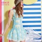 Sleeveless Printed Ruffled Dress