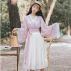 Set: Long-sleeve Hanfu Top + Lace Top + Pleated Midi Skirt
