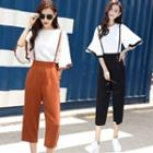 Set: Frilled Cuff Chiffon Top + Suspender Pants