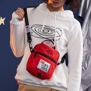 Letter Embroidered Nylon Crossbody Bag