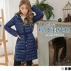 Drawstring Waist Hooded Padded Coat