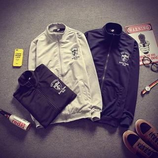 Sport Set: Stand-collar Jacket + Drawstring Sweatpants