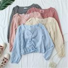 Gingham Shirred Cropped Blouse