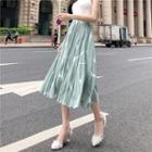 Printed Pleated Chiffon A-line Midi Skirt