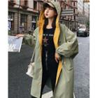 Lettering Buttoned Hooded Trench Coat