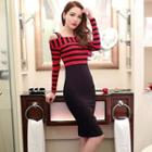 Stripe Panel Cold Shoulder Long-sleeve Bodycon Dress