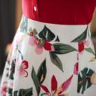Band-waist Floral Miniskirt