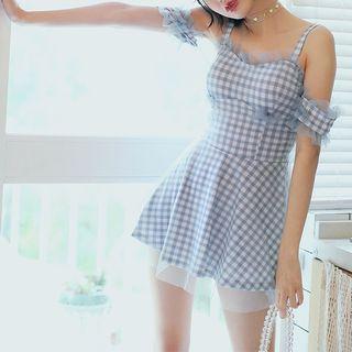 Set: Plaid Cold Shoulder Sim Dress + Bottom