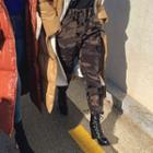 Band-waist Camouflage Baggy Pants
