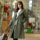 Flap Double-breasted Trench Coat With Sash