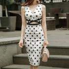 Sleeveless Dotted Cutout Dress