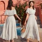 Ruffled Short-sleeve Maxi A-line Dress