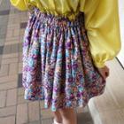 Contrast-trim Floral Miniskirt