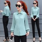 Stand-collar Long-sleeved Chiffon Plain Blouse