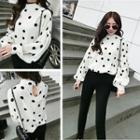 Dotted Lantern Sleeve Chiffon Top
