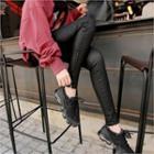 Zip-side Coated Skinny Pants
