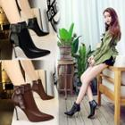 Faux Leather Buckled High Heel Ankle Boots