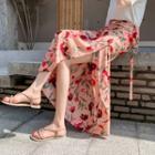 Floral Print Chiffon Maxi Wrap Skirt