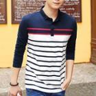 Stripe Long-sleeve Polo Shirt