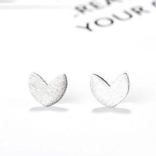 925 Sterling Silver Heart Stud Earrings 925 Silver - One Size